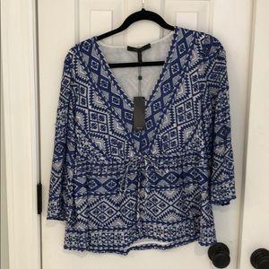 BCBGMaxAzria blue & white 3/4 sleeve shirt - NWT